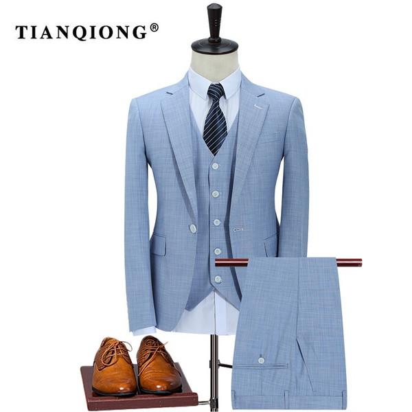 TIAN QIONG 100% Polyester Sky Blue Suit Men Slim Fit Leisure Business Wedding Dress Suits for Men Terno Masculino Tuxedo 3 Pcs S18101902