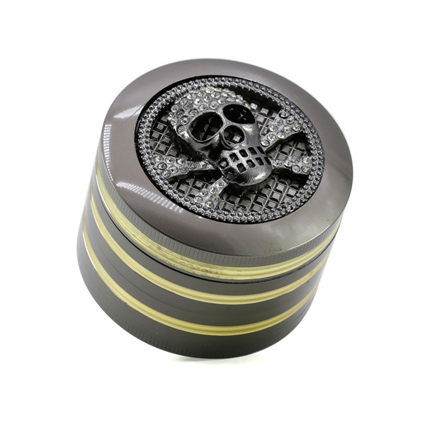 Tobacco Grinders Tools 63 mm 4 Layer Dry Herb Metal Gold Lines Animal Pattern Skull Frog Spider For Sale