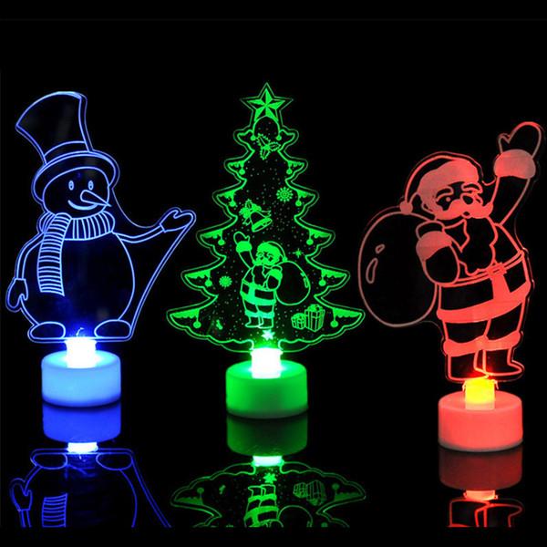 Noël LED lumières 3D père noël arbre de noël bonhomme de neige éclairage changement couleur acrylique lampe décoration de fête ornements pour la maison