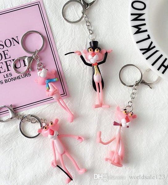 New Arrival Cartoon Pink Leopard Bell Keychain Keyring For Women Holder Charm Bag Purse Car Key Ring Jewelry Gifts Key Chain