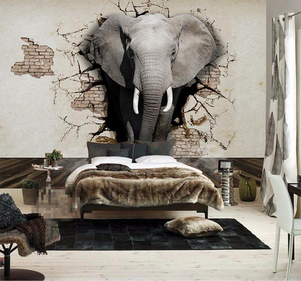 Acquista Carta Da Parati Personalizzata 3D Elefante Murale Parete TV Sfondo  Poster Soggiorno Camera Da Letto TV Sfondo Murale Carta Da Parati Adesivo  ...