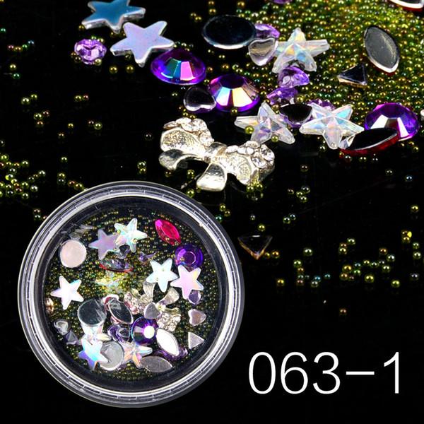 1pcs Mixed Rhinestones Glitter Nail Art Crystal Caviar Beads Studs Colorful Glass 3D Design Jewelry Gem Manicure Decor