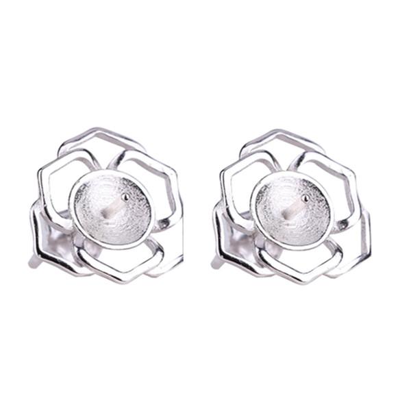 Wholesale Fine Silver 925 Sterling Silver Women Stud Earrings 6-12mm Pear or Round Bead Semi Mount Earrings Fine Jewelry Setting