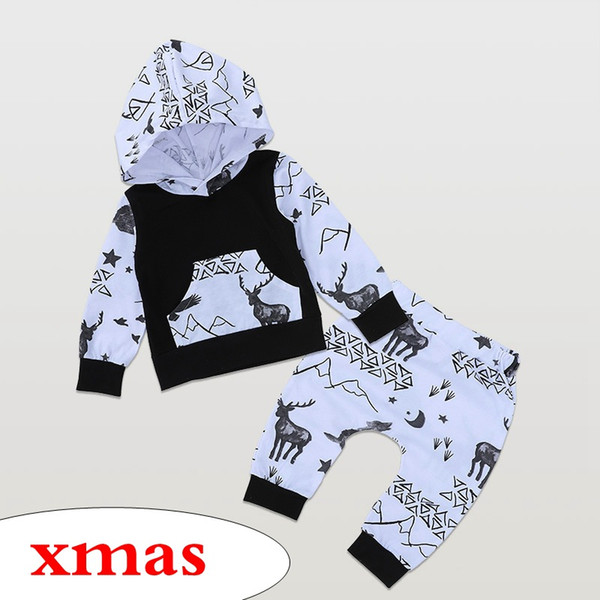 Acheter Ins Noël De Noël Noir Blanc Elk Full Print Enfants Manches Longues à Capuche Lettre Imprimer Blanc Tops Manteau Manteau à Capuchon Enfants