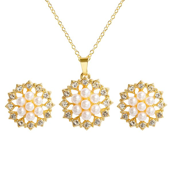 Imitation pearls Bridal Jewelry Sets Fashion Wedding Gift Flower Crystal Collar Choker Necklace Earring Sets for Women