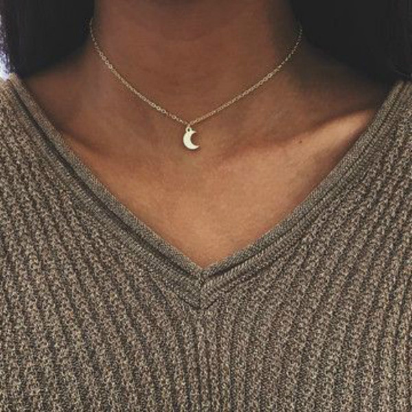 Cute Small Moon Pendants Necklace Women Gold Color Crescent Alloy Pendant 18 Inches Chain Fashion Jewelry Christmas Gifts