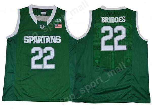 New Style Men College 22 Miles Bridges Jersey Michigan State Spartans  University Jerseys Green Team Basketball Uniform Sport High Quality 585d6d84d