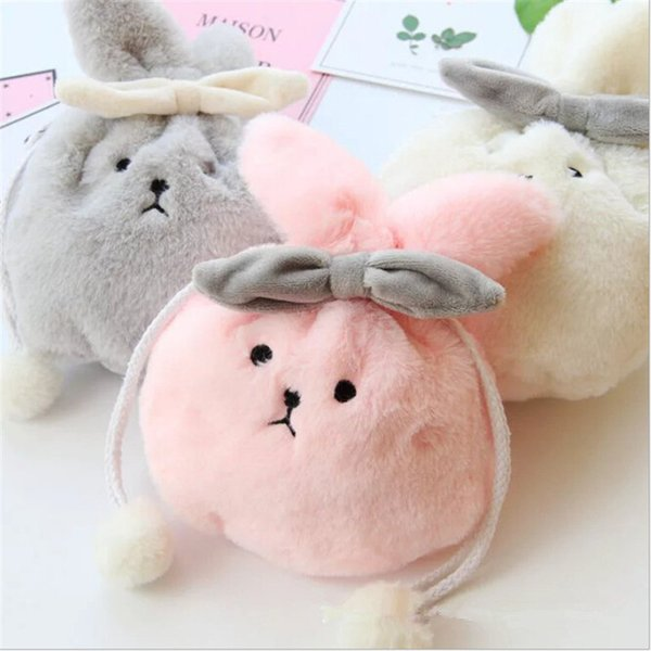 Kawaii Money Storage Gift Girls Wallets Women Mini Cute Cat Ears Plush Coin Purse Change Purse Bag Monederos Para Monedas