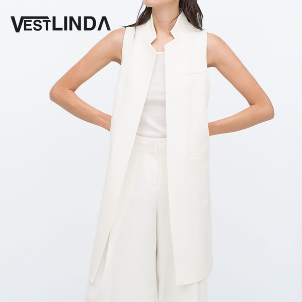 VESTLINDA Uzun Yelek Geri Bölünmüş Dış Giyim Yelekler Kadınlar Beyaz Siyah Ceket Kaban Kolsuz Hırka Cep Blazer Yelek Femme Üst