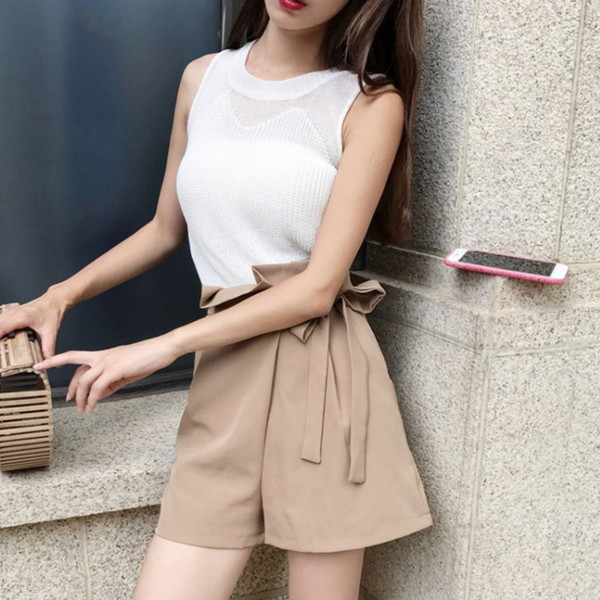 Korean Style Hollow Out Knitted Vest Tops For Ladies Trendy Design Women Summer Sexy Tank Tops Fashionable Sleeveless Camisoles