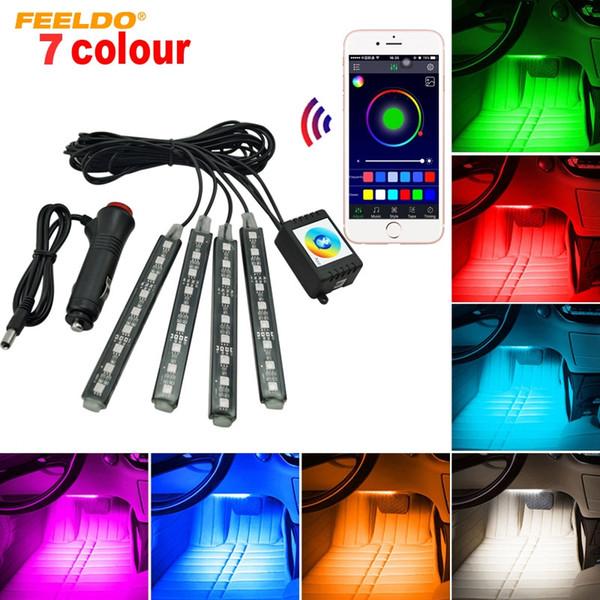 FEELDO 4 teile / satz Auto Blutooth APP Intelligente Steuerung Dekorative LED Atmosphäre Neonlicht RGB Auto Innenfußraum Licht # 4561