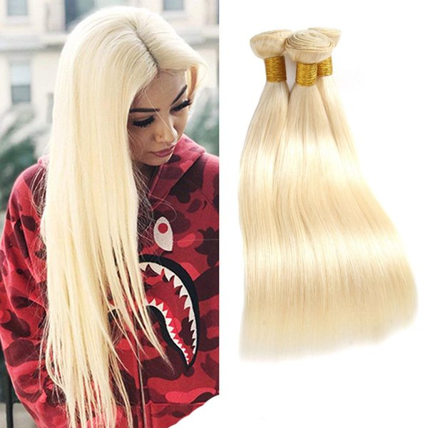 Malaysian Unprocessed Human Hair Extensions Straight 613# Mink Remy Hair Bundles 613# Blonde Straight Hair Products 8-30inch Double Wefts