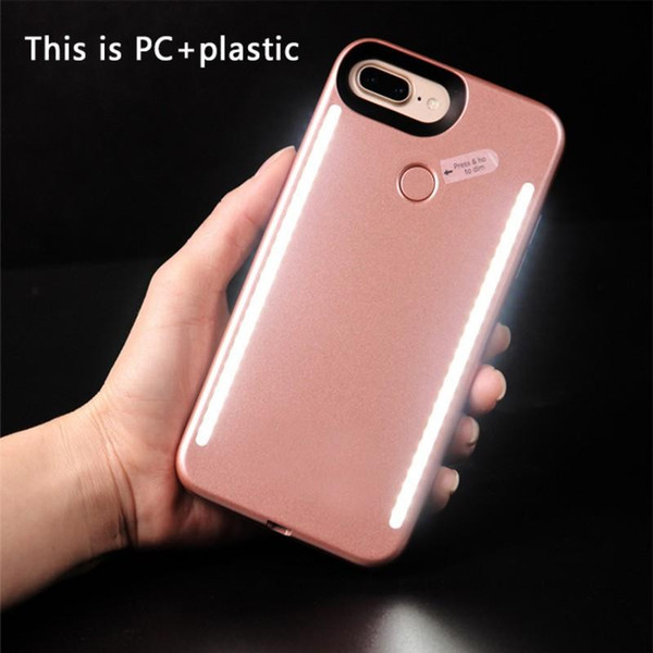 1pcs Fill light Selfie LED Light phone Cases Phone Double Sides Light Battery Case power bank For iphone X 8 7 7s samsung s8 plus With logo