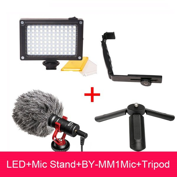 Zhiyun Smooth 4 Accessori Video Setup Boya BY-MM1 Microfono / Mic Cavalletto Stand / 96 LED Video Light per DJI OSMO Mobile 2 Gimbal