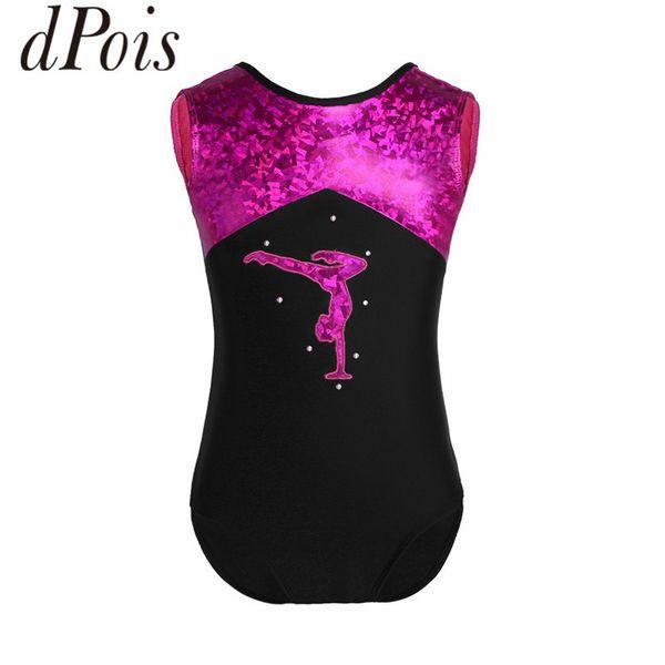DPOIS Fashion Teens Girls Sleeveless Glittery Splice Ballet Dance Leotard Gymnastics Leotard Kids Dancewear Tutu Sports Bodysuit