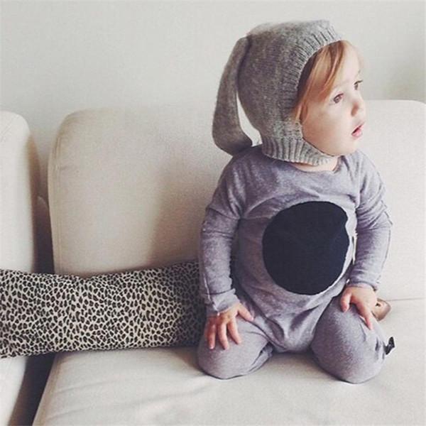 New Baby Girls Woolen Yarn Crochet Hats Long Bunny Ear Kids Hand Made Knitting Warm Caps Earflap Autumn Winter Beanie Ear Warmer BH18