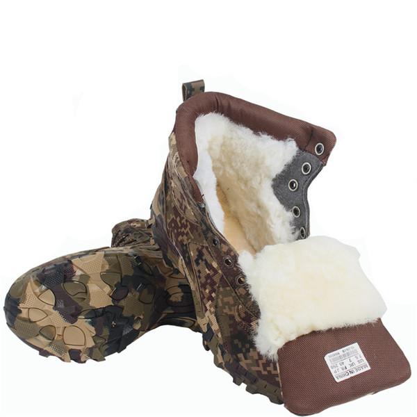 Wüste Camouflage Männer Taktische Kampfstiefel Wasserdichte Wärmste Schneeschuhe Dicke Wolle Männer Winter Stiefeletten Taktische Militärische Schuhe