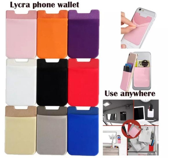 New Elastic Lycra Mobile Phone Wallets Credit ID Card Holder Pocket Adhesive Sticker for iPhone x 8 6 6s 7 Plus Samsung