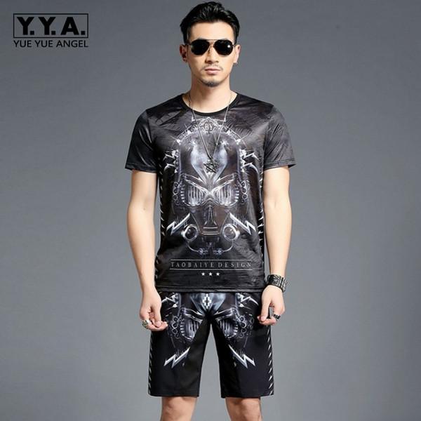 Summer Man Tracksuit Fashion O-Neck Collar Printing T-shirts Knee Length Pants Two Pieces Men Sets Casual Loose Sweatshirt Sets