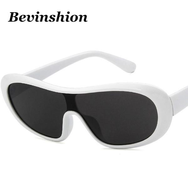 Trendy 2019 Korean Cool Oval One Piece Sunglasses Women Men Brand Design Arc Frame Driver Goggles Sun Glasses Vintage Lunettes