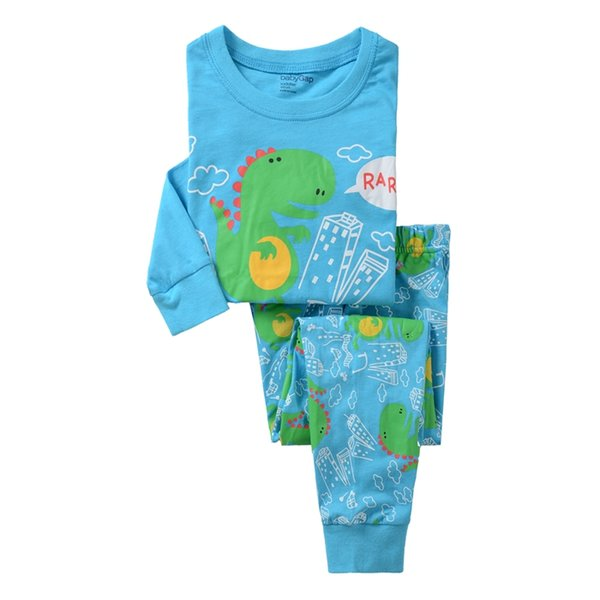 New Boys Girls pajamas Set Sets Autumn Cartoon Blue Color shirt pants two pieces Autumn Winter Size for 2 - 7 years P025