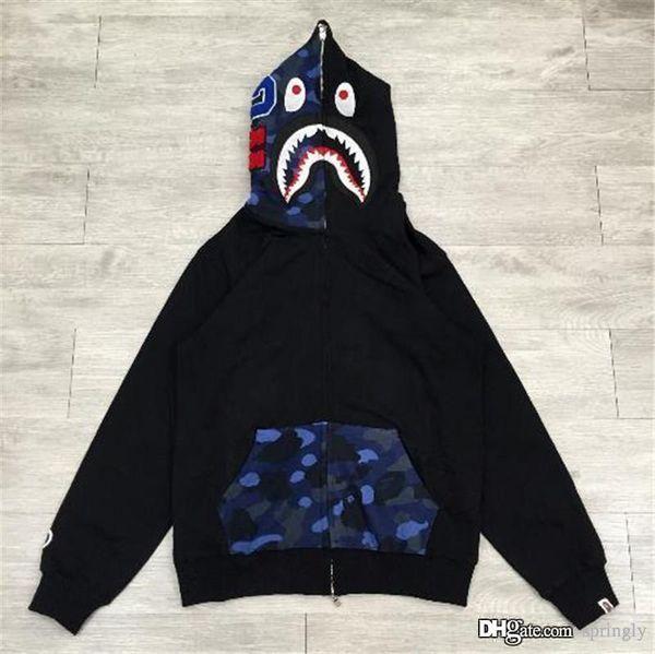 2017 Top Qualité Chaud A Une Baignade Ape Bap Pleine ZIP HOODIE Pull Manteau Shark Space Camo Demi Visage Plein Zip Hoodie Hommes