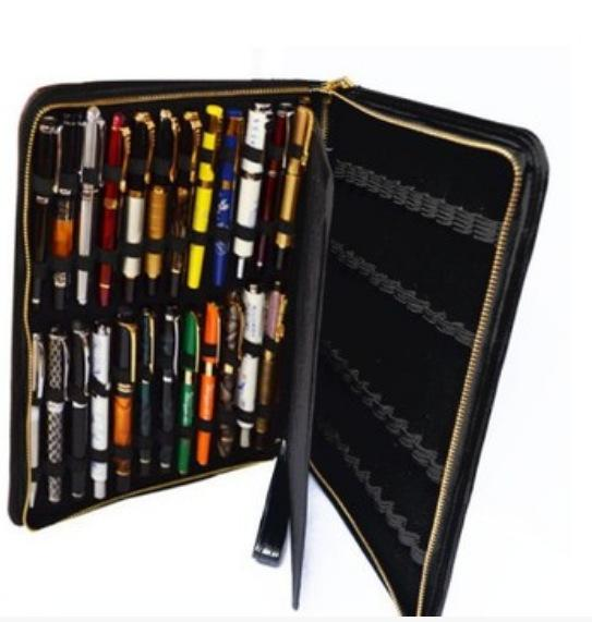 Fountain Pen Roller Pen Black Color PU Leather Zipper Case for 48 Pens Leather Pen Bag for School Office School Case Hold