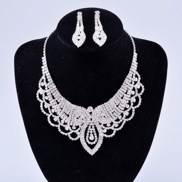 New Middle East Crystals Wedding Bride Jewelry Accessaries Set (Earring + Necklace) Crystal Leaves Design With Faux Pearls HKL53