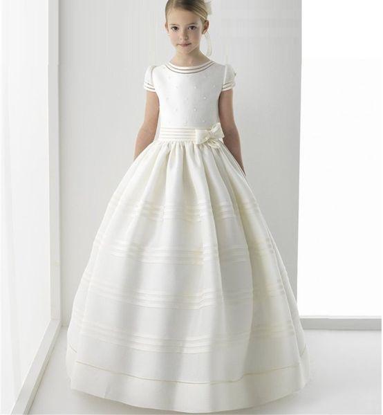 Ball Gown Ribbon Kids Princess Gown Flower Girl Dresses For Wedding Girl's Floor Length Child Party Birthday Dress ytz152
