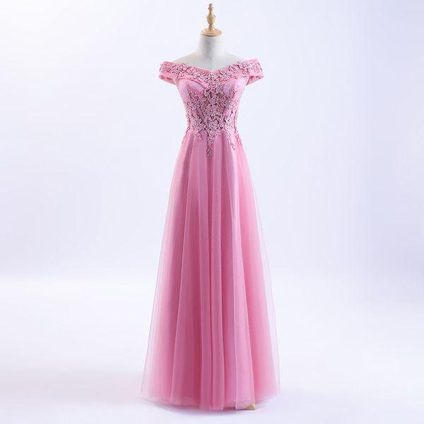 Model Pictures A Line Evening Dresses 2018 Off Shoulder Pink Lace Appliques Beaded Long Cheap Prom Dresses
