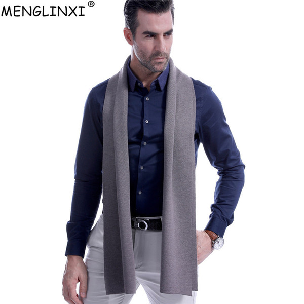 8 Solid Color Men Cashmere Scarf Winter Fashion Brand Scarf 2018 New Best Christmas Gift Wool Muffler Man Casual Scarves Warps