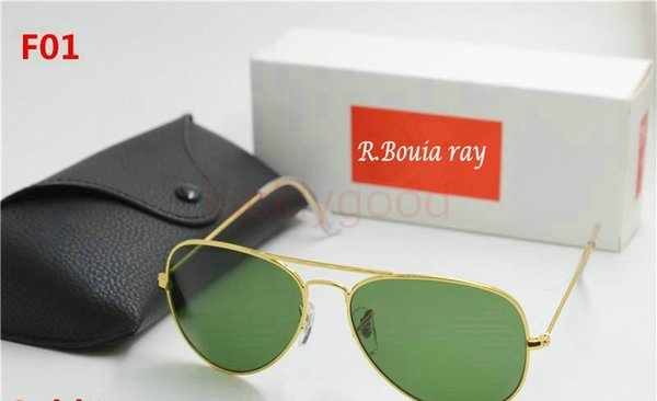New high quality AAAAA fashion brand designer, male lady ray Yang sunglasses gold frame brown glass lens 58mm UV400 protection black case