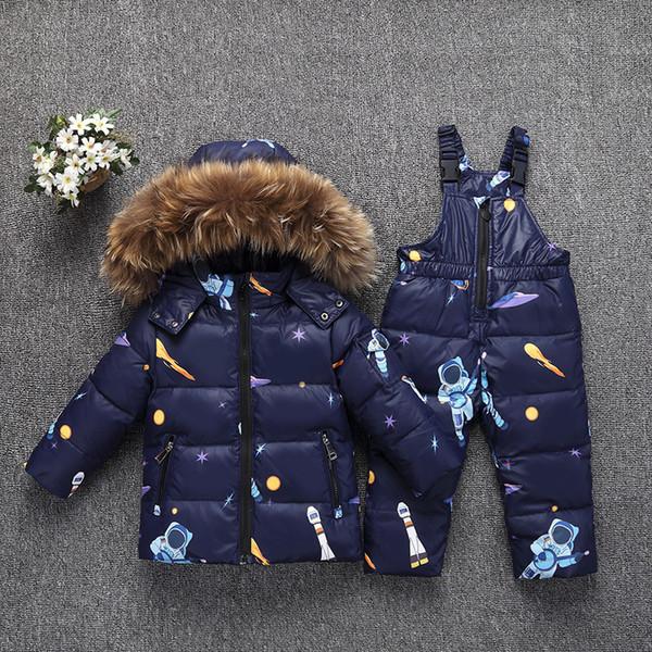 Conjuntos de ropa para niñas y niños pequeños Chaqueta de plumón para niños Invierno Cálido con capucha Piel real Recién nacido Bebés Niños Traje Traje de nieve