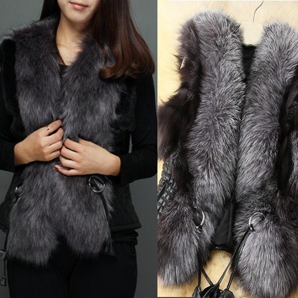 top popular New Women Leather Fur Vest Short Paragraph Wome\u0027n\u0027s Fashion Vest Collar Coat Fur 2020