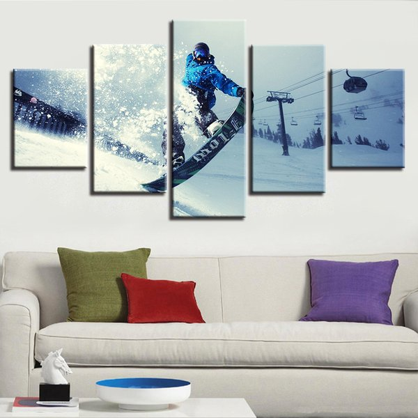Canvas Painting Wall Art HD Printed Framework 5 Pieces Winter Sports Skiing Pictures Modular Extreme Sports Poster Home Decor