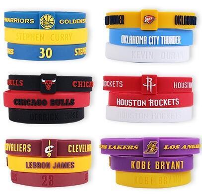 Lot Silicon Bracelet Basketball Teams adjustable Wristband(Selection team)