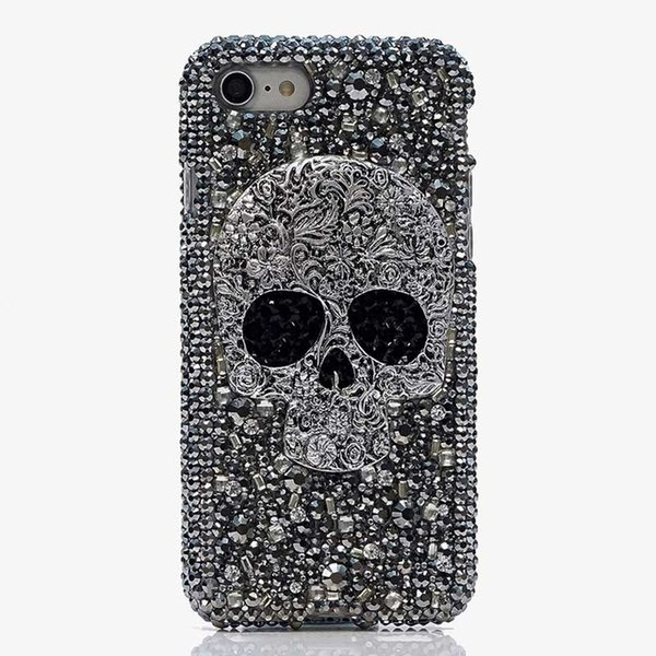 For iPhone XS Max Leopard Case For iPhone XR X Skull Punk Case For iPhone 7 8 6 6S Plus Crystal Diamond Cover Silicone Back Case