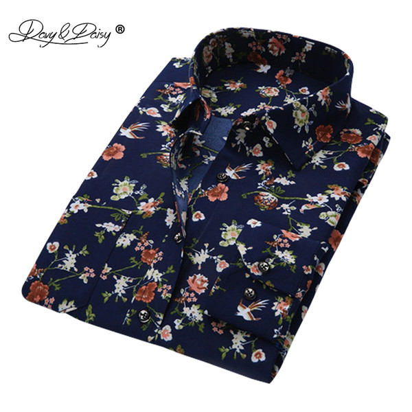 DAVYDAISY Men Shirt Long Sleeve Fashion Floral Printing Male Shirts Brand Clothing Casual shirt Man camisa masculina DS004 Y1892102