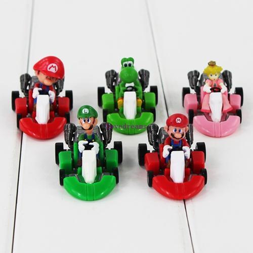 5Pcs/set Super Mario Bros Mario Figures Pull Back Car Kart PVC Figure Toys Luigi Yoshi Model Mini Gifts for Kids Phone Accessories