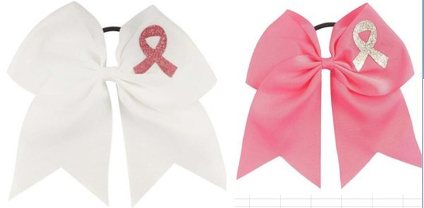 """NEW 3pcs """"HOPE - BREAST CANCER Ribbon"""" Cheer Hair Bow Pony Tail Girls Cheerleading Practice Games School Uniform Hairbow Awareness Event"""