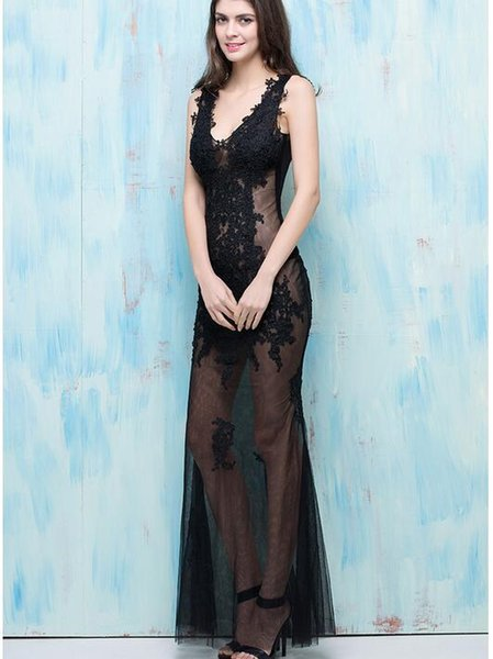 Women Luxury Dress Boutique Top quality Show Model Sexy Hollow Nightclub bar Sexy perspective costume Stage performance gauze dress