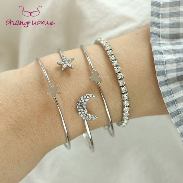 4 Pcs/ Set Classic Star And Moon Gem Multilayer Adjustable Open Bracelet Set Women Fashion Party Jewelry Gift