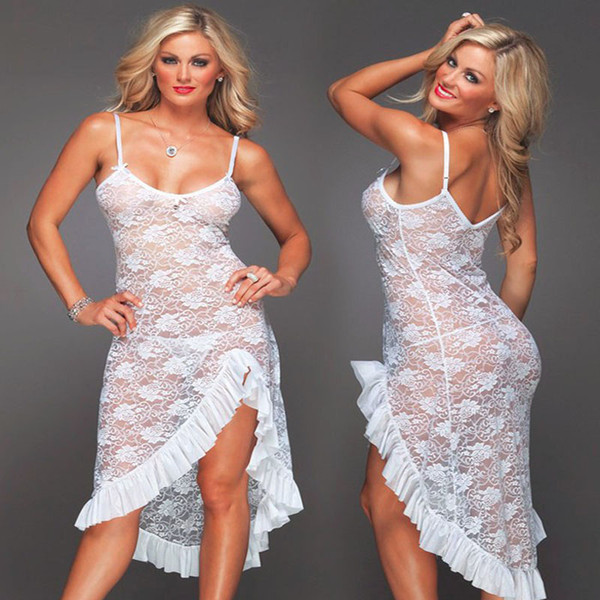 White Black Red sexy long dressing night gown sheer sleep dress evening nightgown nightie sleepwear lingerie for women