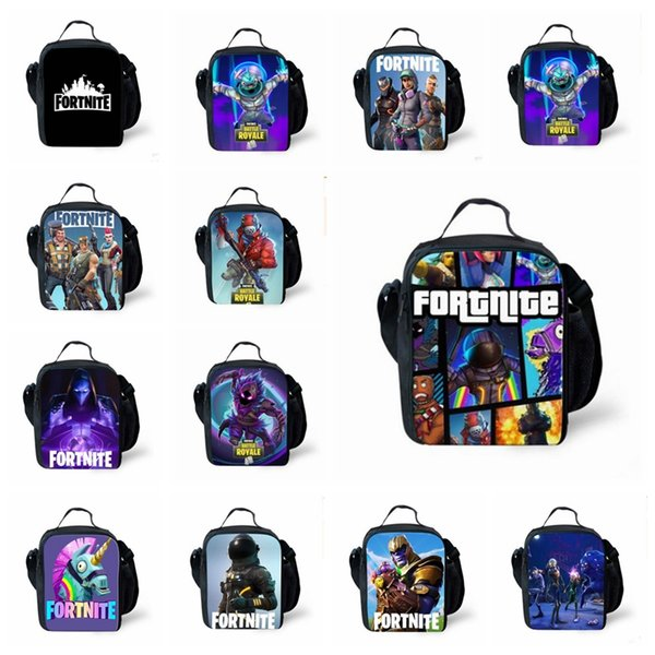 13 colors Kids Fortnite Lunch Box Bag The Fortress Night Teenager Backpack Students Schoolbag Luminous Unisex Game Storage Bags MMA503