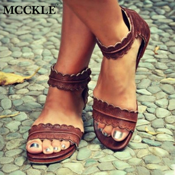 MCCKLE Women Summer Casual Plus Size Flat Sandals Female Sewing Hollow Cover Heel Zipper Shoes Woman Comfortable Shoe Sandal