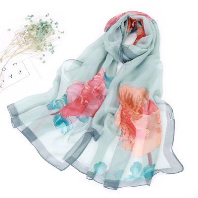2018 women Chiffon Silk Scarfs Mulberry Silk Print Brand Shawls Summer Shine Big Square Scarf Printed Pashmina Flowers Colors Hijabs Capes