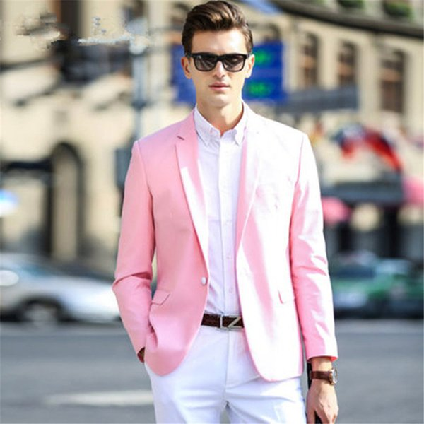 Pink Coat White Pant 2pieces Tuxedos Groom Suits Men Groom Tuxedos Wedding Suits Groomsmen Bridegroom Suit(Jacket+Pant+Tie)