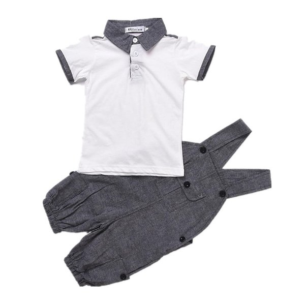 Summer Kids Baby Boys Gentleman Suit White Short Sleeve Polo Shirt +Suspender Trousers Outfits Fashion Kids Wedding Clothing