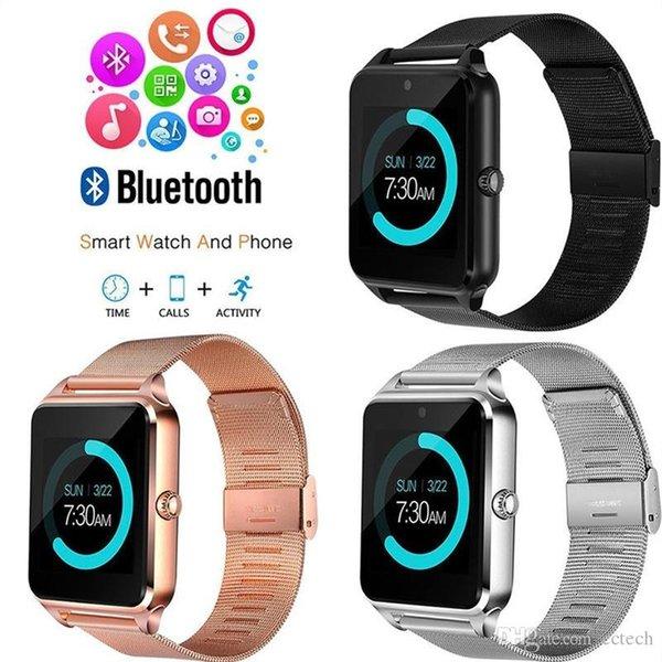 Beste Bluetooth Smart Watch Z60 Smart Uhr Edelstahl Wireless Smart Uhren Unterstützung TF SIM Karte für Android IOS Mit Kleinpaket