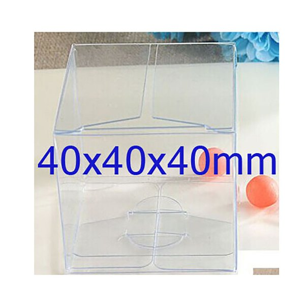Custom Logo Box Cost Extra 40x40x40mm Clear PVC Box package plastic single cupcake Case Gift Boxes